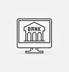 online banking linear icon bank building on vector image