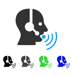 Operator talking sound waves flat icon vector