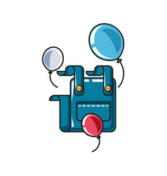 Overall uniform clothing with balloons helium vector