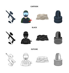 paintball marker player and other accessories vector image