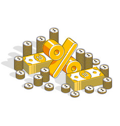 percentage rate earnings income concept percent vector image
