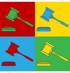 Pop art judge gavel icons vector image