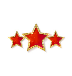 Retro light sign three gold red stars vector