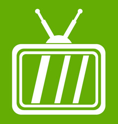 retro tv icon green vector image