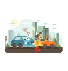 Road traffic accident scene vector