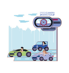 Road with speed camera detector vector
