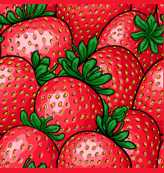 Seamless pattern red strawberry with black vector