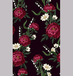 Seamless pattern with burgundy peonies vector
