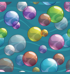 Seamless pattern with colorful transparent bubbles vector