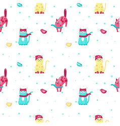 Seamless pattern with cute winter cats vector