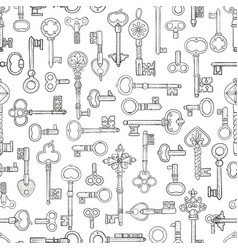 seamless pattern with vintage skeleton keys can vector image