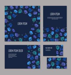 Set blue floristic elements corporate vector
