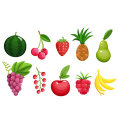 set colorful fruit icons apple pear vector image