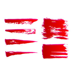 set hand painted red ink brush strokes grunge vector image