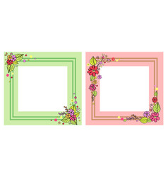 Set of photo frames in pink and green color vector