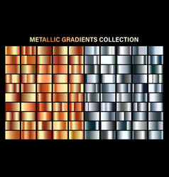 silver and orange bronze glossy gradient metal vector image