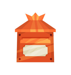 small bright orange postal box for mail cartoon vector image