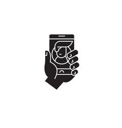 social mobile network black concept icon vector image