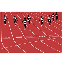 sprint female runners on tracks vector image