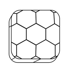 Square silhouette button with contour soccer shape vector