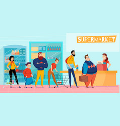 supermarket queue flat composition vector image