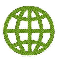 The Globe Sign Made of Green Clover vector image