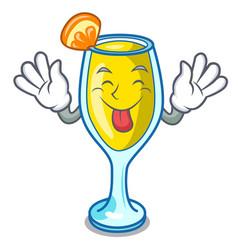 tongue out mimosa mascot cartoon style vector image
