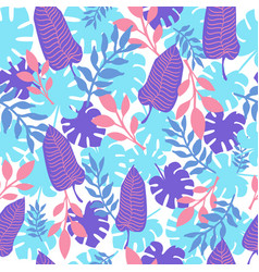 tropical leaves colorful seamless pattern summer vector image