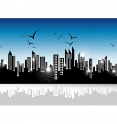 Urban skyscrapers landscape vector