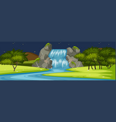 Waterfall scene at night vector