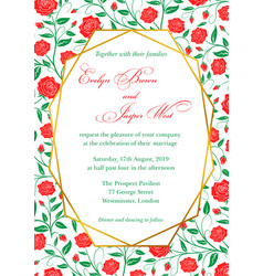 wedding invitation red roses floral invite card vector image