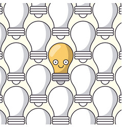 White background with pattern of light bulbs and vector