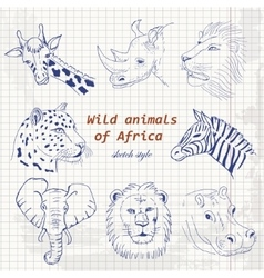 Wild animals of africa in sketch style on a paper vector