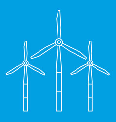 Windmills for electric energy production icon vector