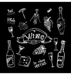 Wine set on chalkboard vector