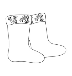Winter felt boots icon in outline style isolated vector image