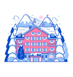 Winter ski resort monoline landscape vector