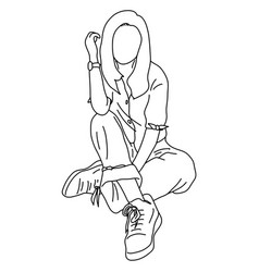 woman sitting on ground sketch vector image