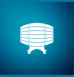wooden barrel on rack icon on blue background vector image