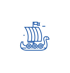 wooden viking ship line icon concept wooden vector image