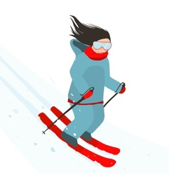Young Sporty Girl Skiing Downhill in Mountains vector image