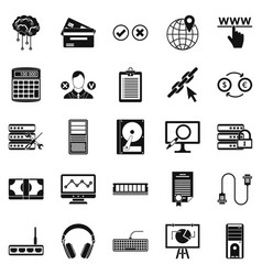 computer server icons set simple style vector image