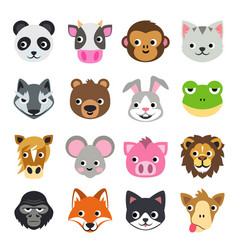 face funny animal cartoon icon vector image