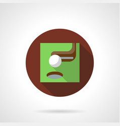 golf putter brown flat round icon vector image vector image
