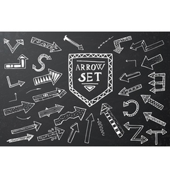 Hand drawn arrow icons set on black chalk board vector image vector image