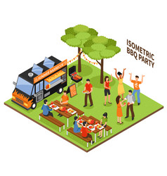 isometric bbq party vector image vector image