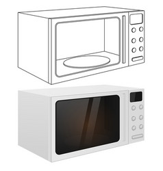 microwave oven outline drawing and 3d vector image