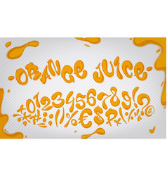 orange juice hand drawn signs and numbers vector image vector image