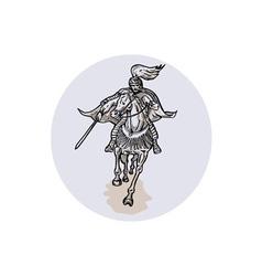 Samurai Warrior With Katana Sword Horseback vector image vector image
