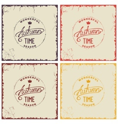 Set of vintage autumn card vector image vector image